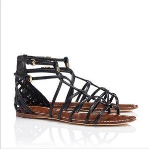 Tory Burch Brooke Black Leather Gladiator Sandals